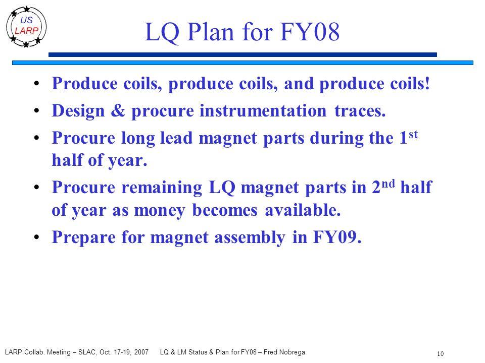 LQ & LM Status & Plan for FY08 – Fred Nobrega 10 LARP Collab.