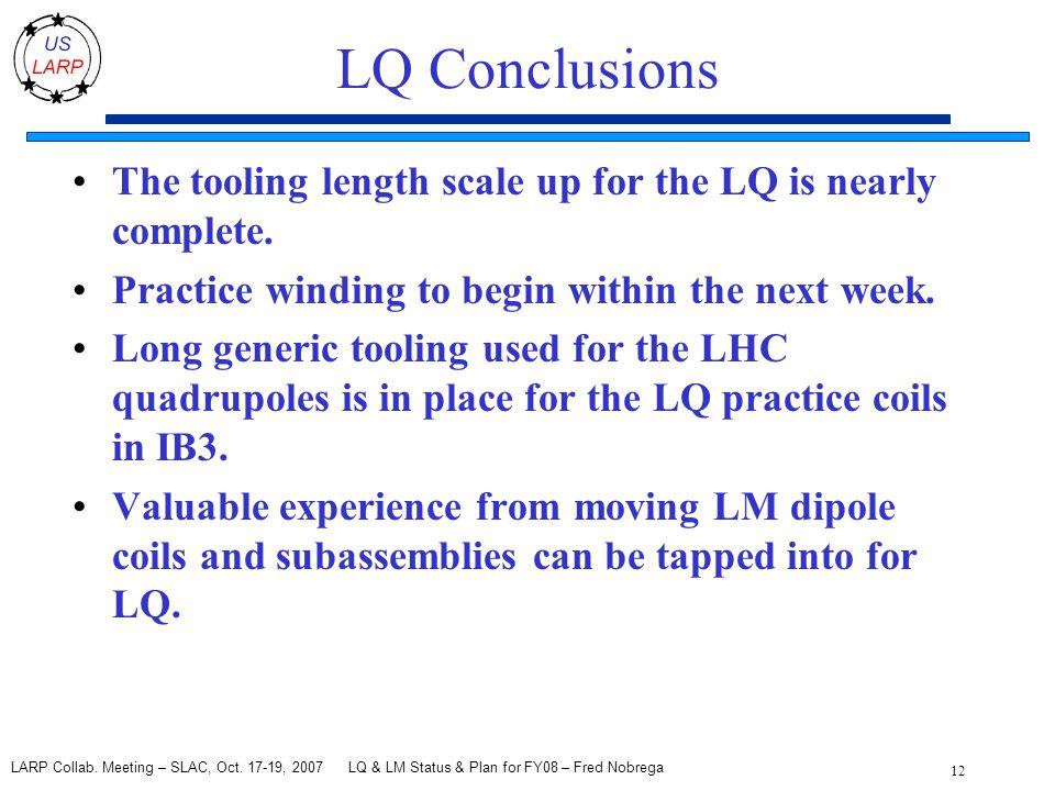 LQ & LM Status & Plan for FY08 – Fred Nobrega 12 LARP Collab.