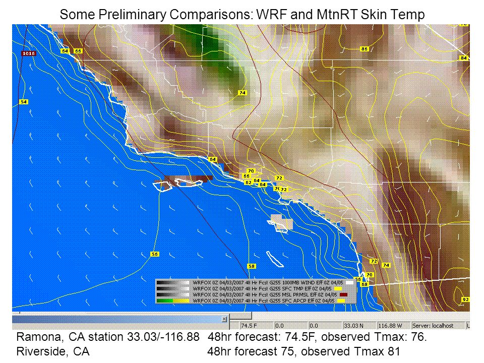 Some Preliminary Comparisons: WRF and MtnRT Skin Temp Ramona, CA station 33.03/-116.88 48hr forecast: 74.5F, observed Tmax: 76.