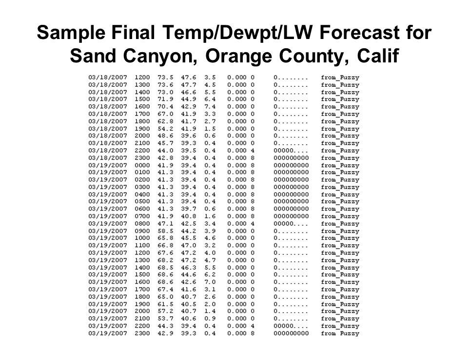 Sample Final Temp/Dewpt/LW Forecast for Sand Canyon, Orange County, Calif