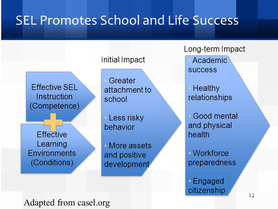 SEL Promotes School and Life Success Initial Impact 12 Effective SEL Instruction (Competence) Effective Learning Environments (Conditions) Effective Learning Environments (Conditions) Greater attachment to school Less risky behavior More assets and positive development Greater attachment to school Less risky behavior More assets and positive development Academic success Healthy relationships Good mental and physical health Workforce preparedness Engaged citizenship Academic success Healthy relationships Good mental and physical health Workforce preparedness Engaged citizenship Long-term Impact Adapted from casel.org