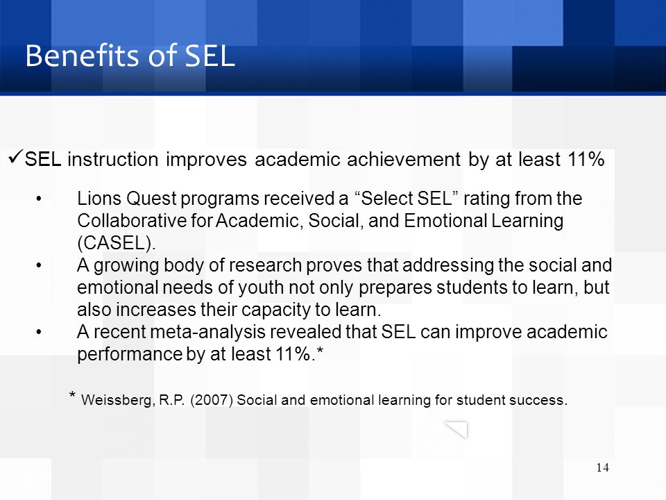 Lions Quest programs received a Select SEL rating from the Collaborative for Academic, Social, and Emotional Learning (CASEL).