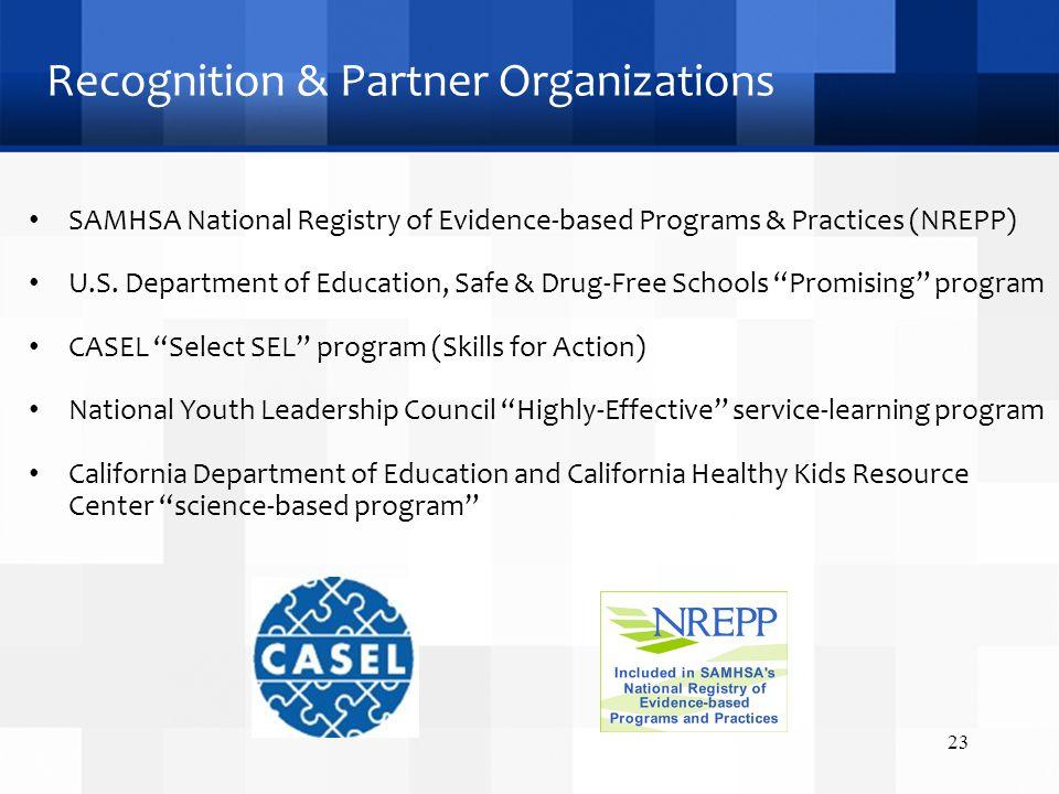 Recognition & Partner Organizations SAMHSA National Registry of Evidence-based Programs & Practices (NREPP) U.S.