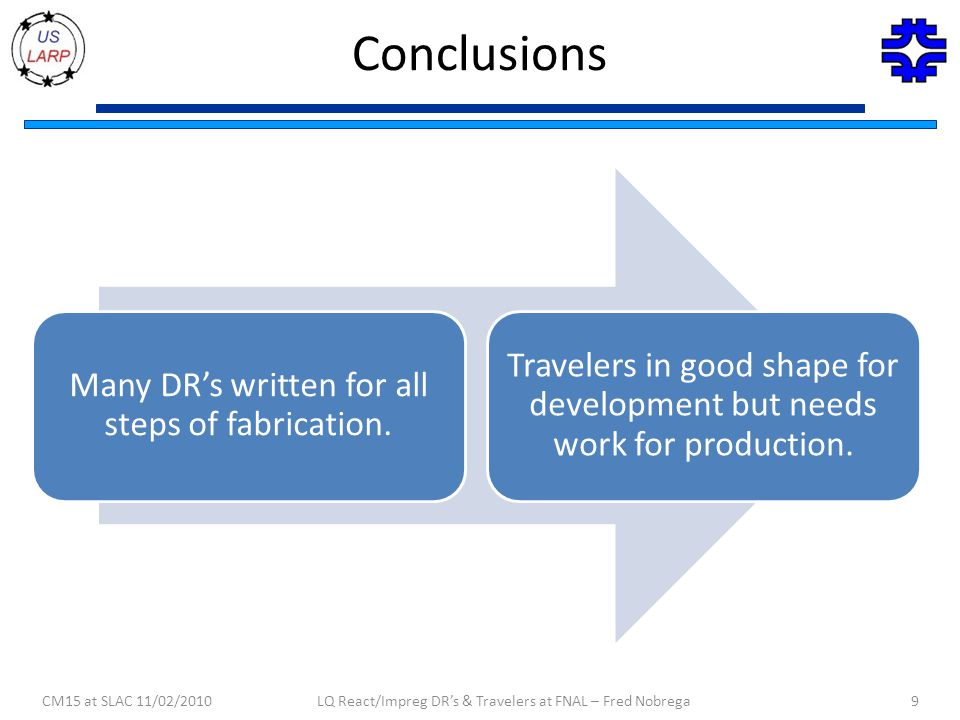 Conclusions Many DR's written for all steps of fabrication.