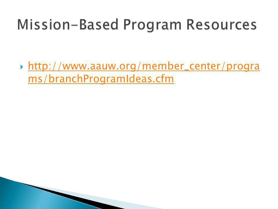  http://www.aauw.org/member_center/progra ms/branchProgramIdeas.cfm http://www.aauw.org/member_center/progra ms/branchProgramIdeas.cfm