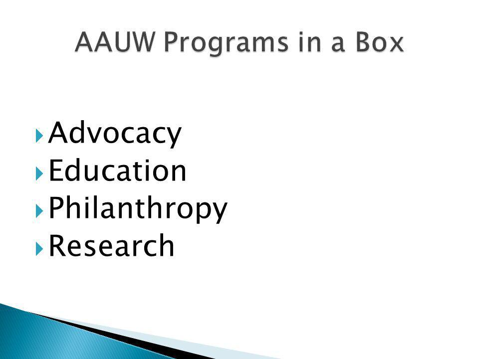  Advocacy  Education  Philanthropy  Research