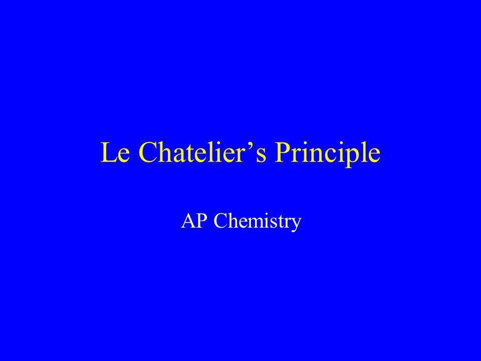 Le Chatelier's Principle AP Chemistry