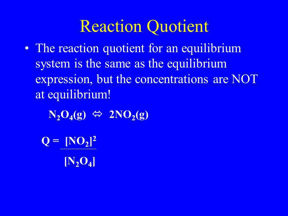 Reaction Quotient The reaction quotient for an equilibrium system is the same as the equilibrium expression, but the concentrations are NOT at equilib