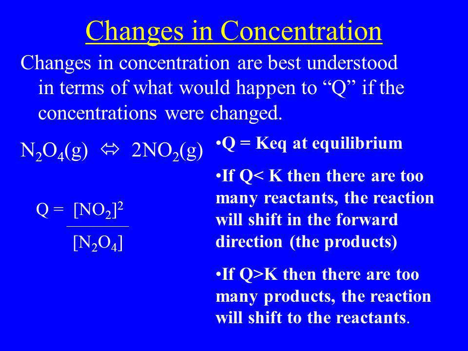 """Changes in Concentration Changes in concentration are best understood in terms of what would happen to """"Q"""" if the concentrations were changed. N 2 O 4"""