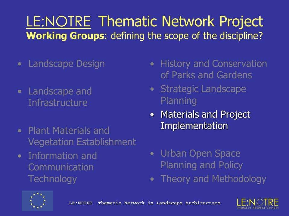 LE:NOTRE Thematic Network Project Working Groups: defining the scope of the discipline.