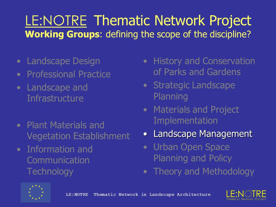 LE:NOTRE Thematic Network Project Working Groups: defining the scope of the discipline? Landscape Design Professional PracticeProfessional Practice La