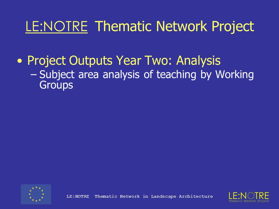LE:NOTRE Thematic Network Project Project Outputs Year Three –But… in order to have even a slim chance of successfully developing these outputs in the final year of the project, we (i.e.