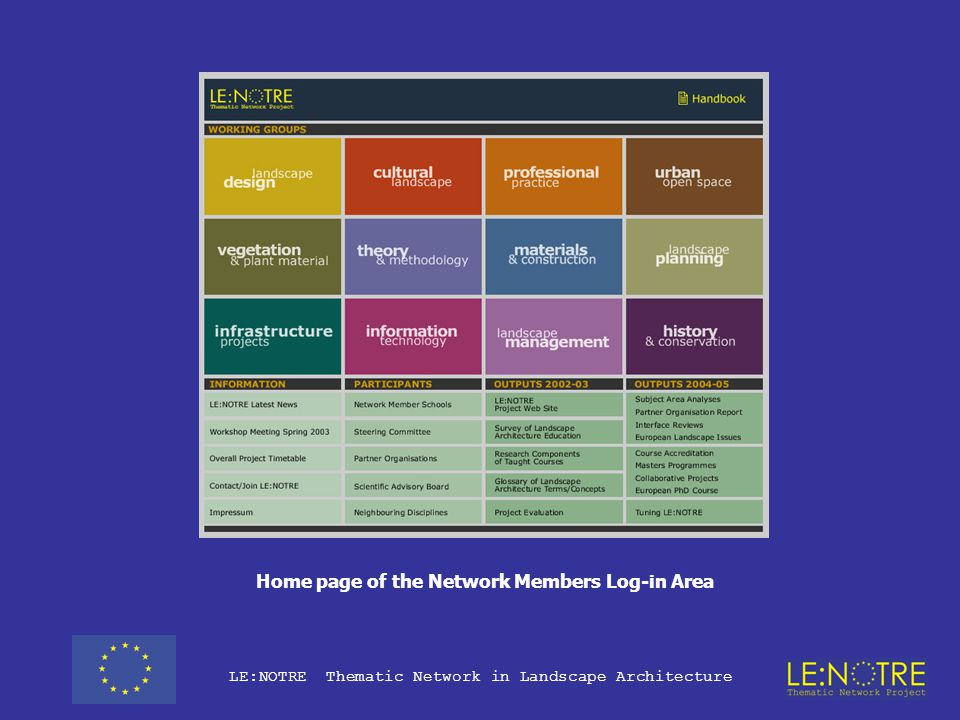 LE:NOTRE Thematic Network in Landscape Architecture Role of the log in area of the project web site