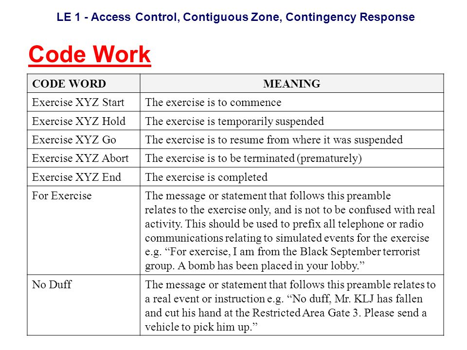 LE 1 - Access Control, Contiguous Zone, Contingency Response Code Work CODE WORDMEANING Exercise XYZ StartThe exercise is to commence Exercise XYZ HoldThe exercise is temporarily suspended Exercise XYZ GoThe exercise is to resume from where it was suspended Exercise XYZ AbortThe exercise is to be terminated (prematurely) Exercise XYZ EndThe exercise is completed For ExerciseThe message or statement that follows this preamble relates to the exercise only, and is not to be confused with real activity.