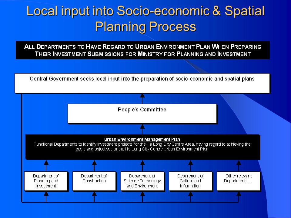 Local input into Socio-economic & Spatial Planning Process
