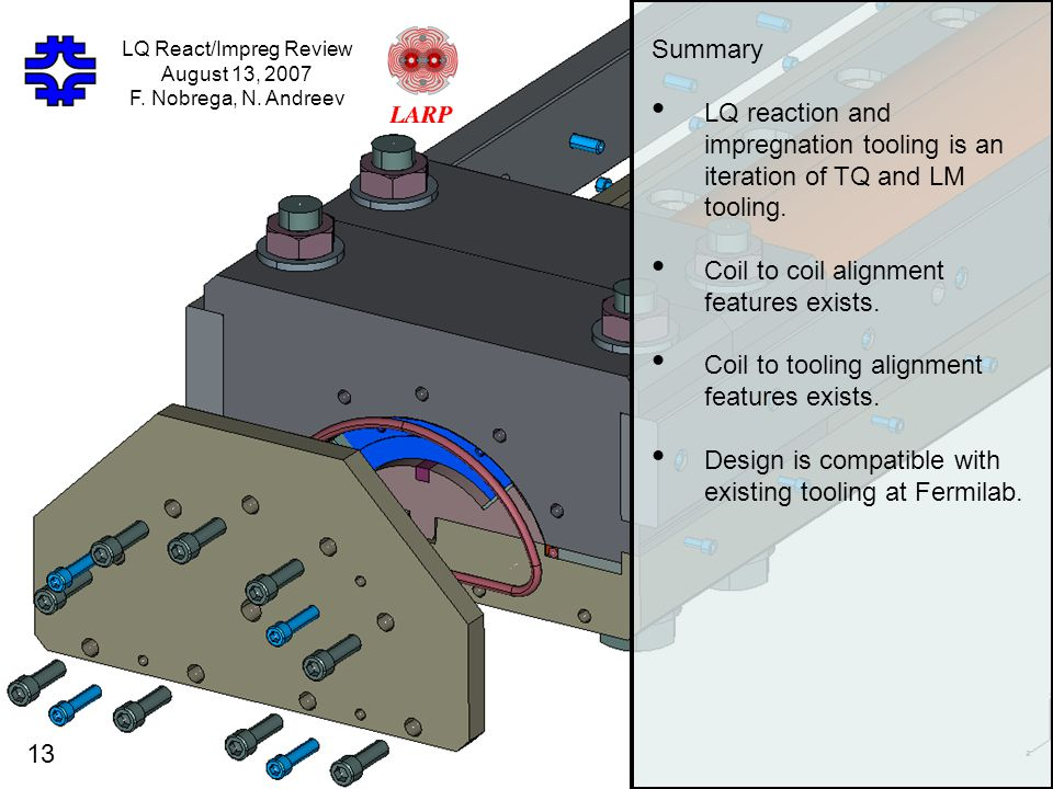 Summary LQ reaction and impregnation tooling is an iteration of TQ and LM tooling.