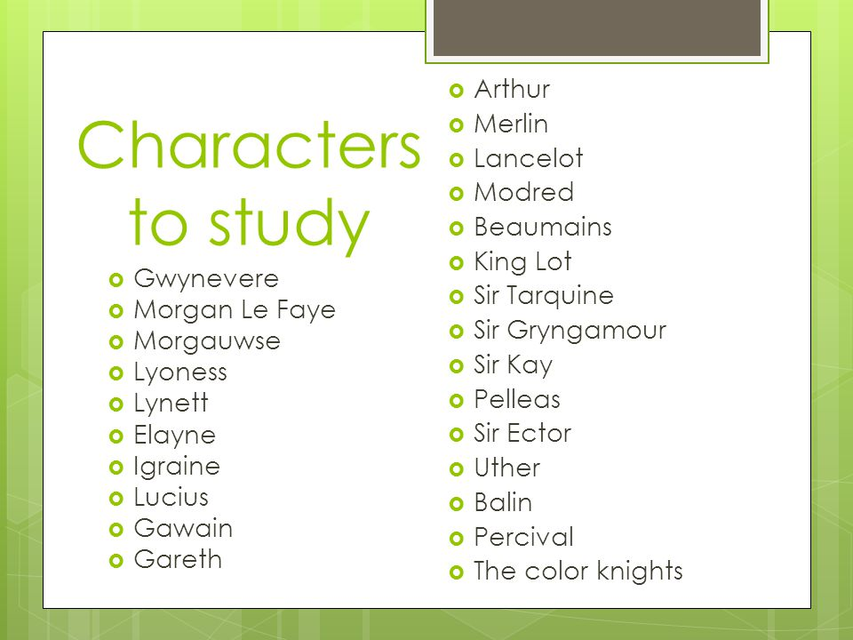 Characters to study  Gwynevere  Morgan Le Faye  Morgauwse  Lyoness  Lynett  Elayne  Igraine  Lucius  Gawain  Gareth  Arthur  Merlin  Lancelot  Modred  Beaumains  King Lot  Sir Tarquine  Sir Gryngamour  Sir Kay  Pelleas  Sir Ector  Uther  Balin  Percival  The color knights