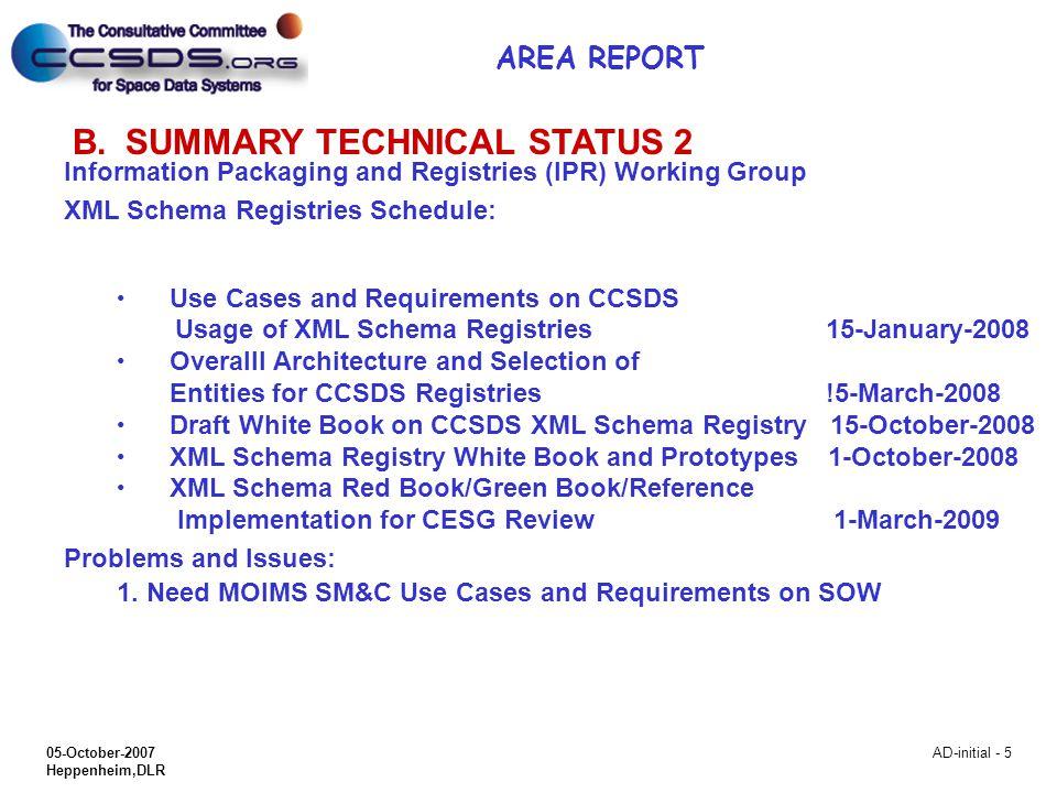 05-October-2007 Heppenheim,DLR AD-initial - 5 B.SUMMARY TECHNICAL STATUS 2 Information Packaging and Registries (IPR) Working Group XML Schema Registr