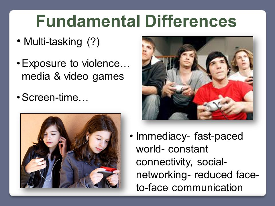 Fundamental Differences Multi-tasking (?) Exposure to violence… media & video games Screen-time… Immediacy- fast-paced world- constant connectivity, s