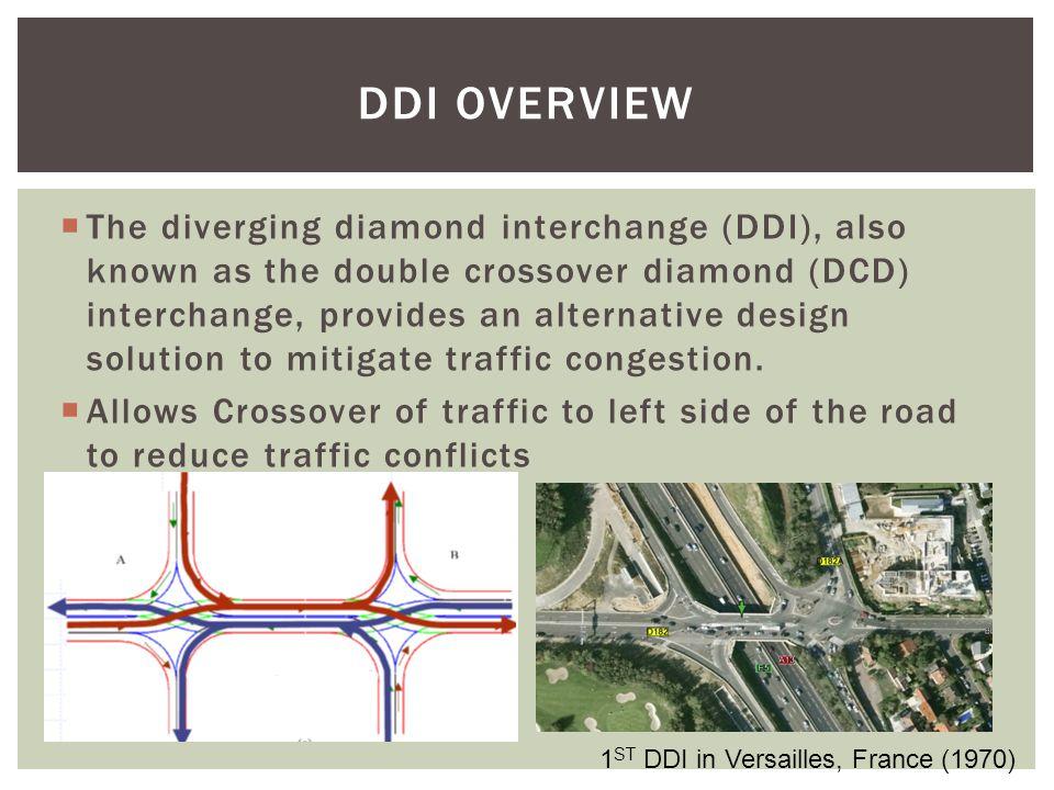 DDI OVERVIEW  The diverging diamond interchange (DDI), also known as the double crossover diamond (DCD) interchange, provides an alternative design solution to mitigate traffic congestion.