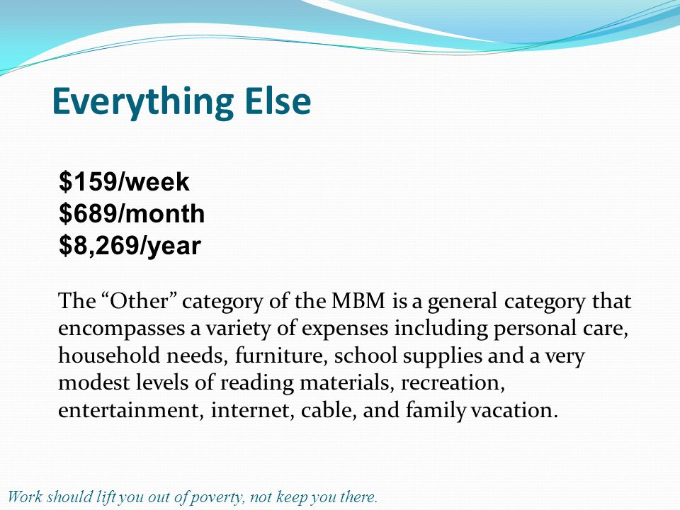 Everything Else The Other category of the MBM is a general category that encompasses a variety of expenses including personal care, household needs, furniture, school supplies and a very modest levels of reading materials, recreation, entertainment, internet, cable, and family vacation.