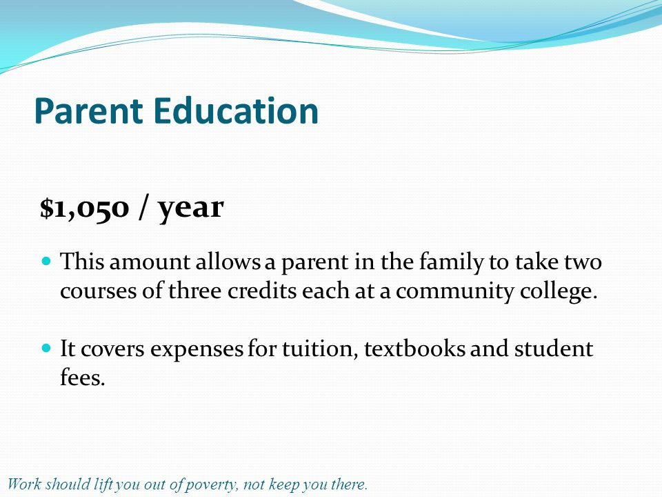 Parent Education $1,050 / year This amount allows a parent in the family to take two courses of three credits each at a community college.