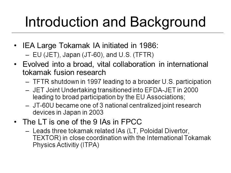 Introduction and Background IEA Large Tokamak IA initiated in 1986: –EU (JET), Japan (JT-60), and U.S.