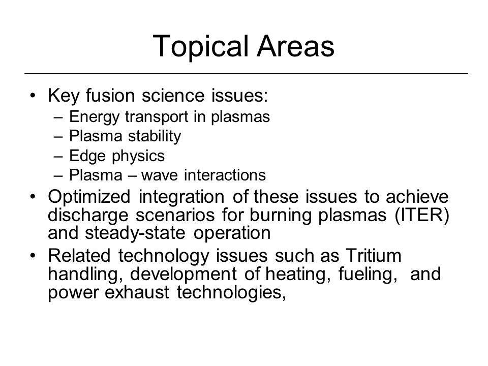 Topical Areas Key fusion science issues: –Energy transport in plasmas –Plasma stability –Edge physics –Plasma – wave interactions Optimized integration of these issues to achieve discharge scenarios for burning plasmas (ITER) and steady-state operation Related technology issues such as Tritium handling, development of heating, fueling, and power exhaust technologies,