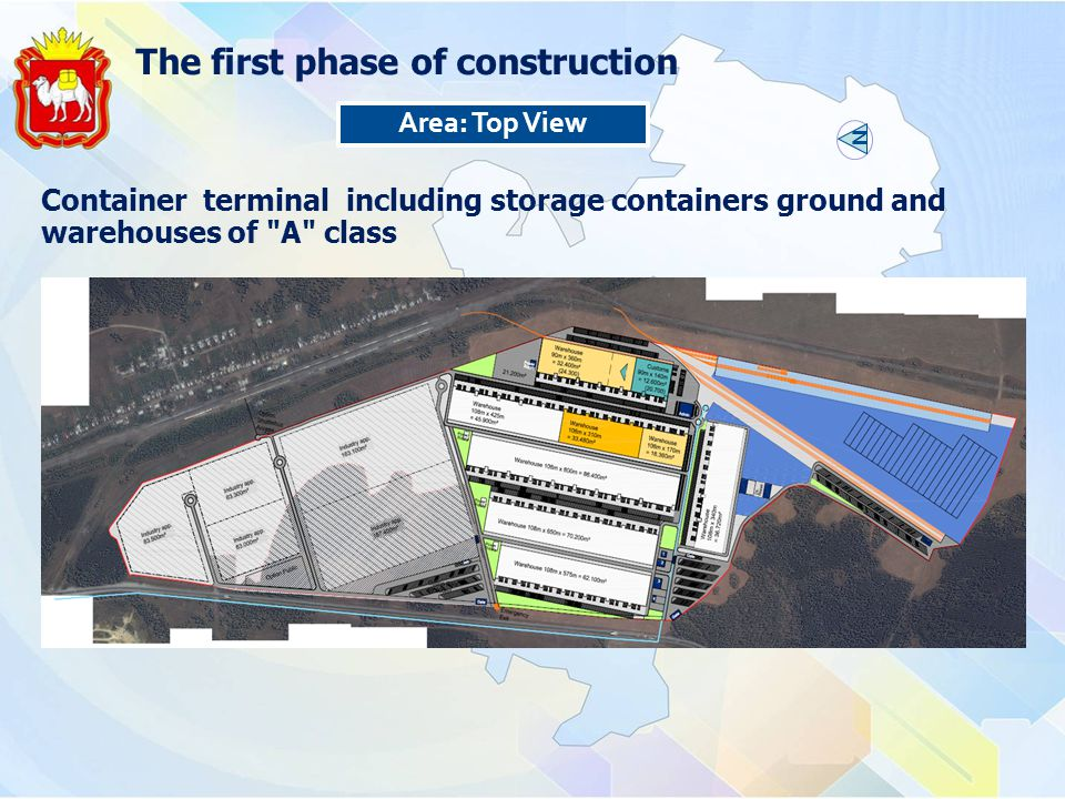 Area: Top View Container terminal including storage containers ground and warehouses of A class The first phase of construction N
