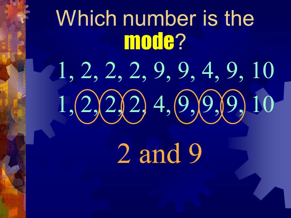 Which number is the mode ? 1, 2, 2, 2, 9, 9, 4, 9, 10 2 and 9 1, 2, 4, 9, 10