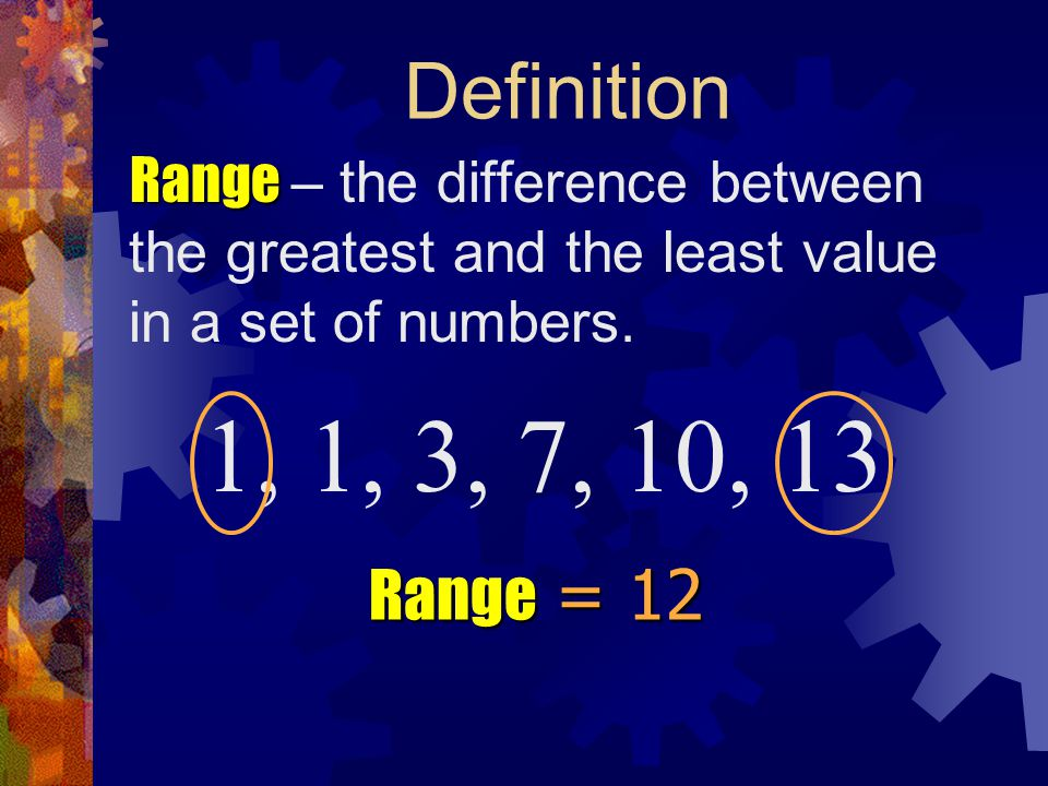 Definition Range Range – the difference between the greatest and the least value in a set of numbers. 1, 3, 7, 10, 13 Range Range = 12