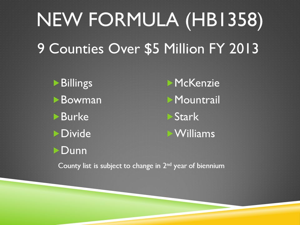NEW FORMULA (HB1358)  Billings  Bowman  Burke  Divide  Dunn  McKenzie  Mountrail  Stark  Williams 9 Counties Over $5 Million FY 2013 County list is subject to change in 2 nd year of biennium