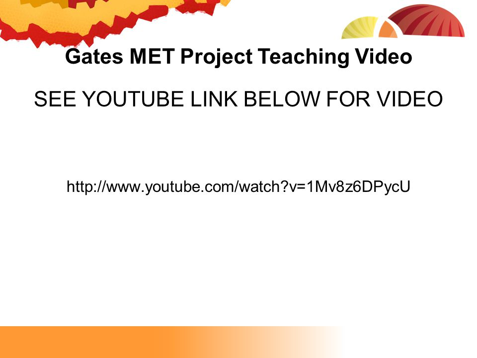 Gates MET Project Teaching Video SEE YOUTUBE LINK BELOW FOR VIDEO http://www.youtube.com/watch?v=1Mv8z6DPycU