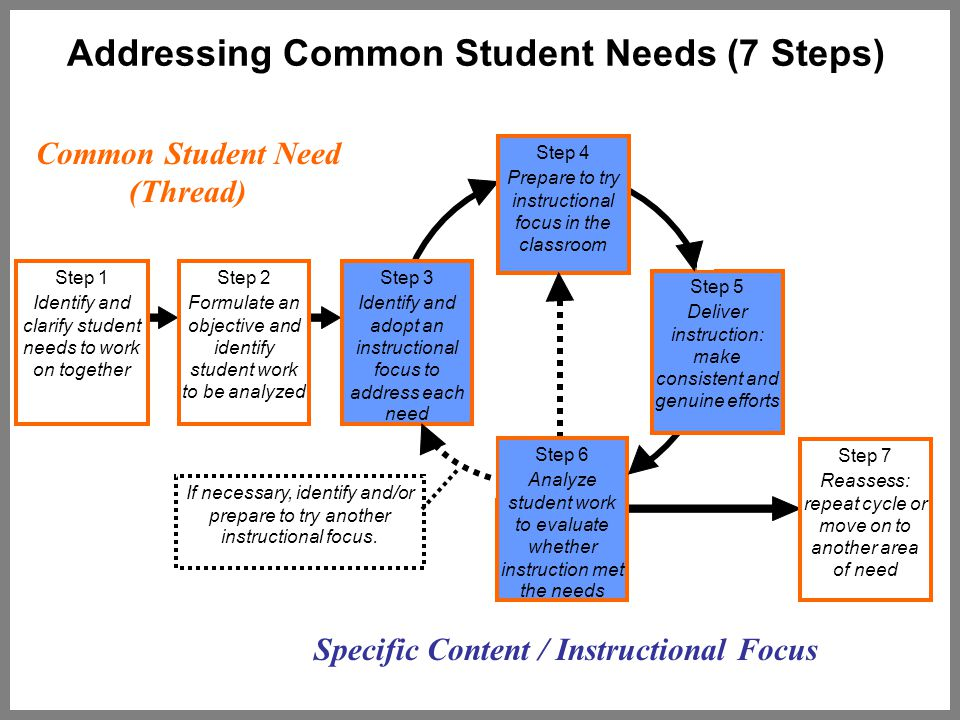 Addressing Common Student Needs (7 Steps) Step 1 Identify and clarify student needs to work on together Step 2 Formulate an objective and identify student work to be analyzed Step 3 Identify and adopt an instructional focus to address each need Step 7 Reassess: repeat cycle or move on to another area of need Step 5 Deliver instruction: make consistent and genuine efforts Step 4 Prepare to try instructional focus in the classroom Step 6 Analyze student work to evaluate whether instruction met the needs If necessary, identify and/or prepare to try another instructional focus.