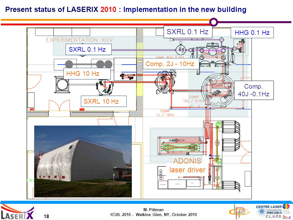 M. Pittman ICUIL 2010 - Watkins Glen, NY, October 2010 18 Present status of LASERIX 2010 : Implementation in the new building ADONIS laser driver Comp