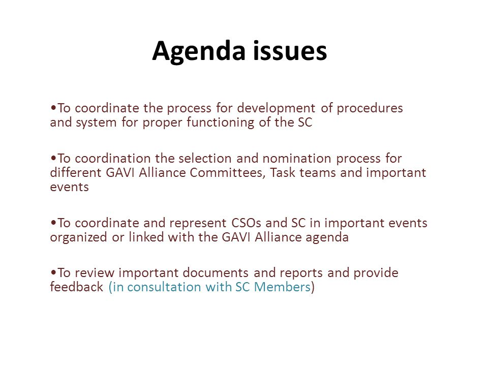 Agenda issues To coordinate the process for development of procedures and system for proper functioning of the SC To coordination the selection and nomination process for different GAVI Alliance Committees, Task teams and important events To coordinate and represent CSOs and SC in important events organized or linked with the GAVI Alliance agenda To review important documents and reports and provide feedback (in consultation with SC Members)
