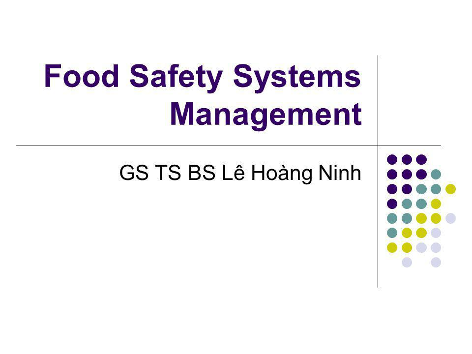 Food Safety Systems Management GS TS BS Lê Hoàng Ninh