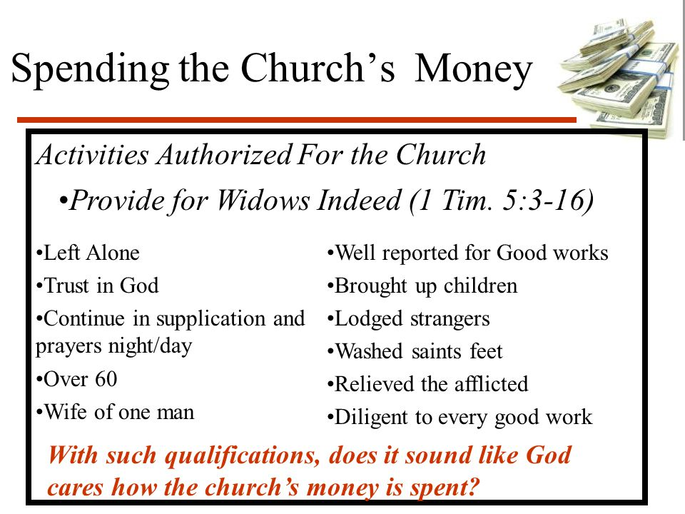 Spending the Church's Money Activities Authorized For the Church Provide for Widows Indeed (1 Tim.
