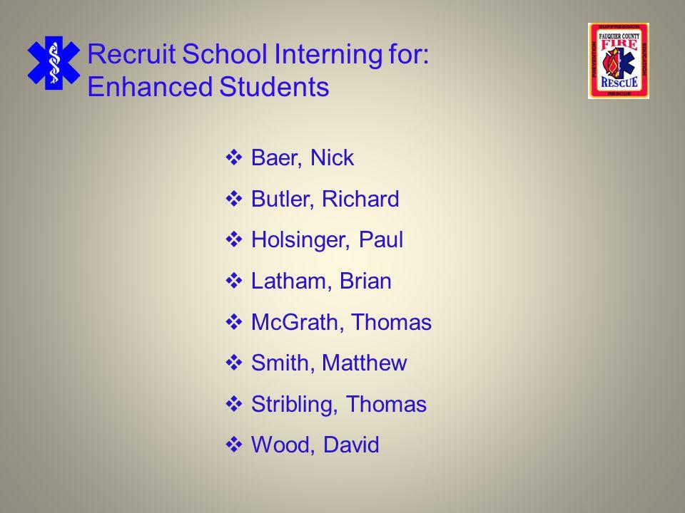 Recruit School Interning for: Enhanced Students  Baer, Nick  Butler, Richard  Holsinger, Paul  Latham, Brian  McGrath, Thomas  Smith, Matthew  Stribling, Thomas  Wood, David