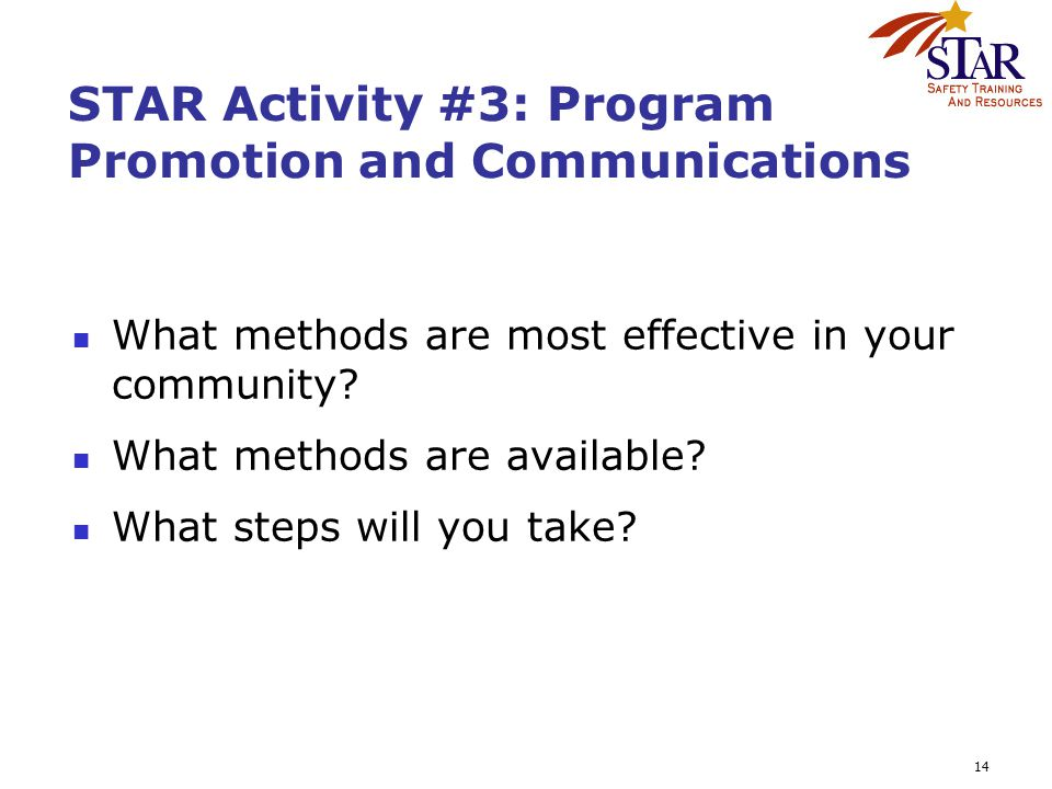 14 STAR Activity #3: Program Promotion and Communications What methods are most effective in your community? What methods are available? What steps wi