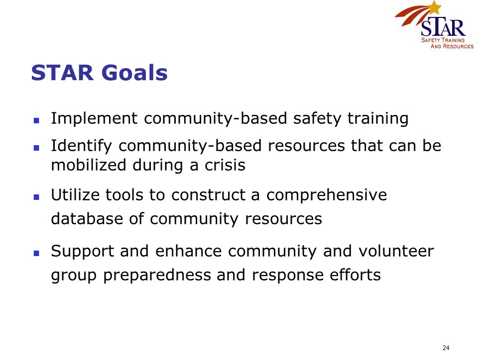 24 STAR Goals Implement community-based safety training Identify community-based resources that can be mobilized during a crisis Utilize tools to cons