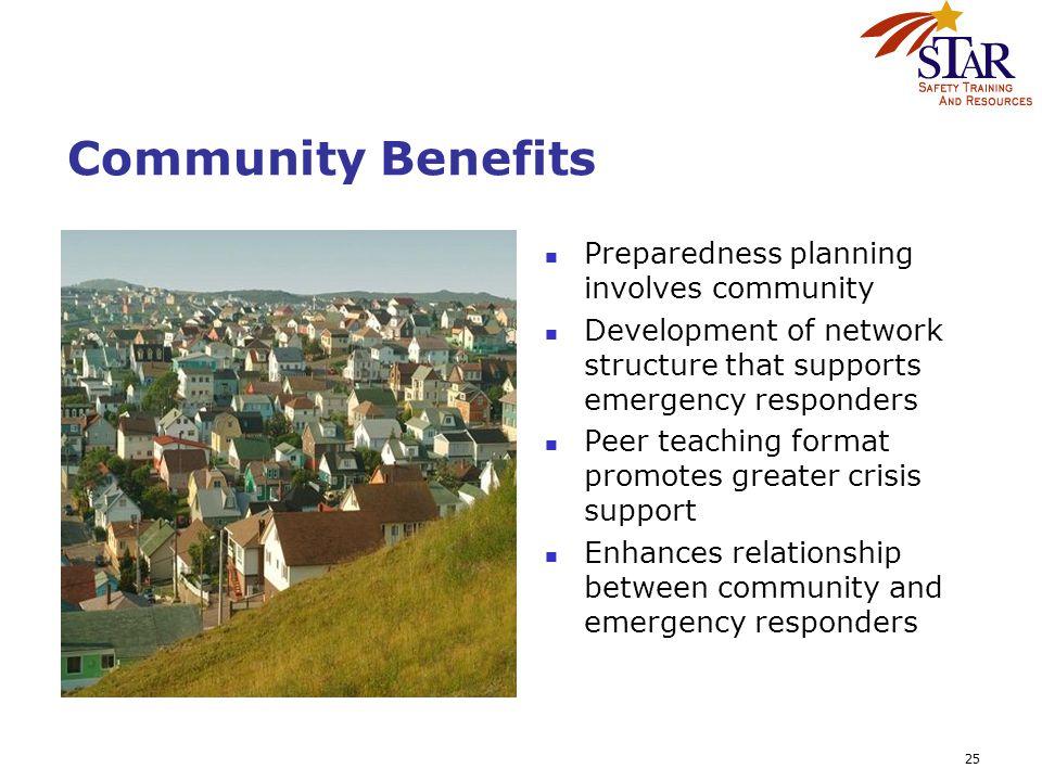 25 Community Benefits Preparedness planning involves community Development of network structure that supports emergency responders Peer teaching forma