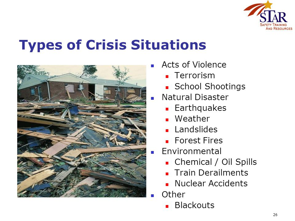 26 Types of Crisis Situations Acts of Violence Terrorism School Shootings Natural Disaster Earthquakes Weather Landslides Forest Fires Environmental C