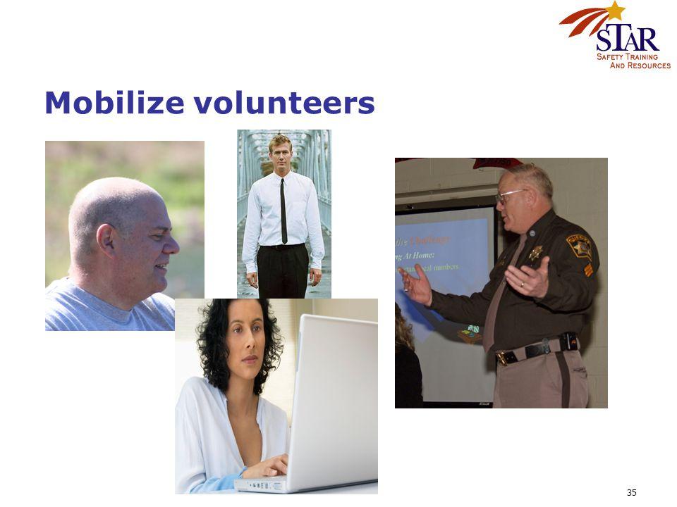 35 Mobilize volunteers