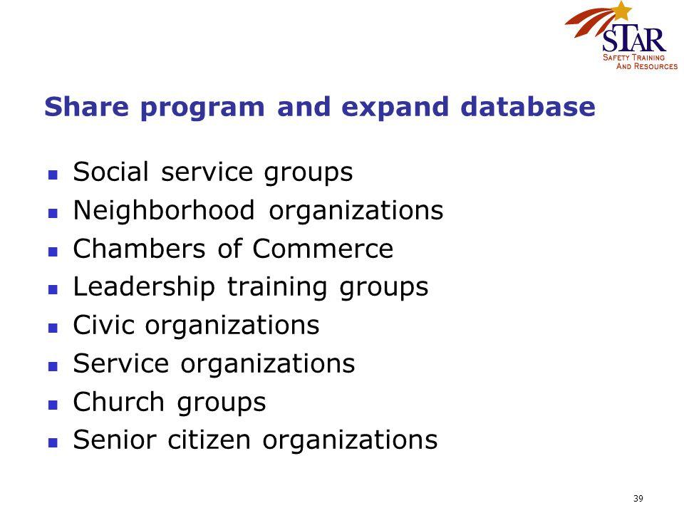 39 Share program and expand database Social service groups Neighborhood organizations Chambers of Commerce Leadership training groups Civic organizati