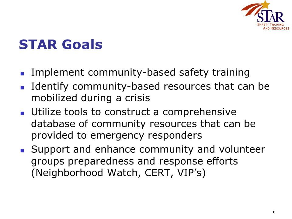5 STAR Goals Implement community-based safety training Identify community-based resources that can be mobilized during a crisis Utilize tools to const