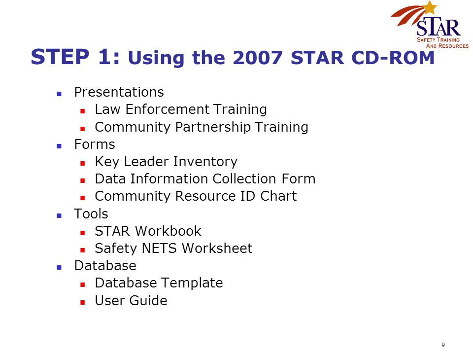9 STEP 1: Using the 2007 STAR CD-ROM Presentations Law Enforcement Training Community Partnership Training Forms Key Leader Inventory Data Information Collection Form Community Resource ID Chart Tools STAR Workbook Safety NETS Worksheet Database Database Template User Guide