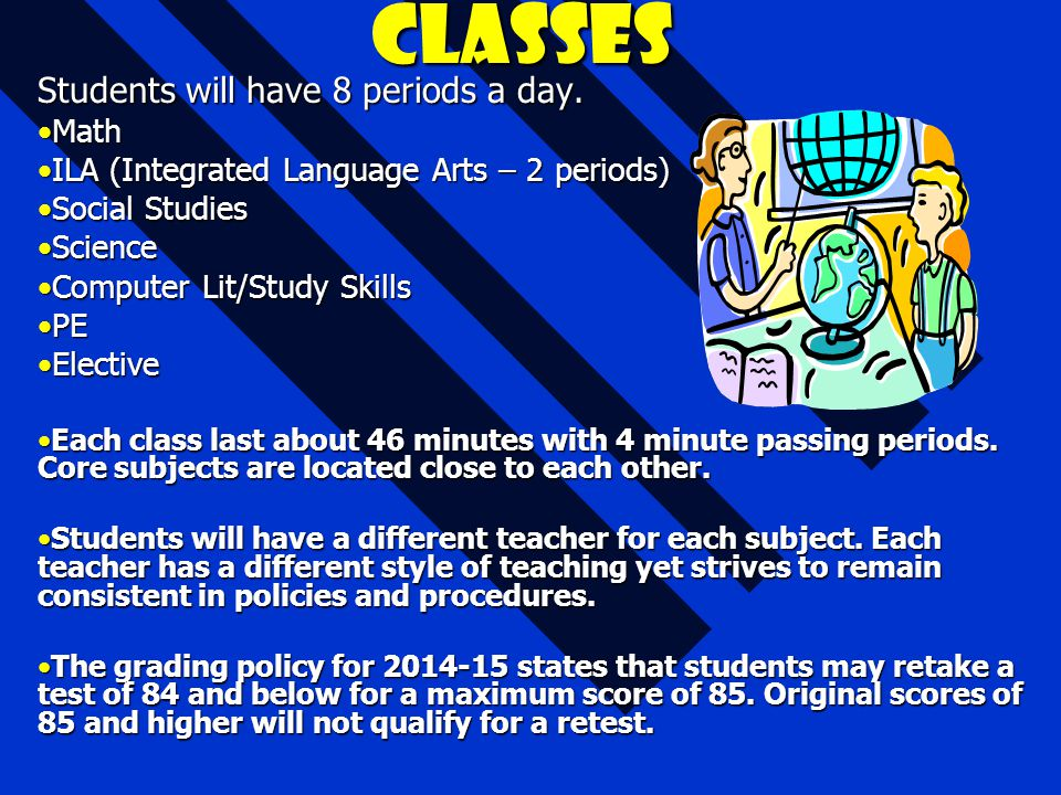 Classes Students will have 8 periods a day. MathMath ILA (Integrated Language Arts – 2 periods)ILA (Integrated Language Arts – 2 periods) Social Studi