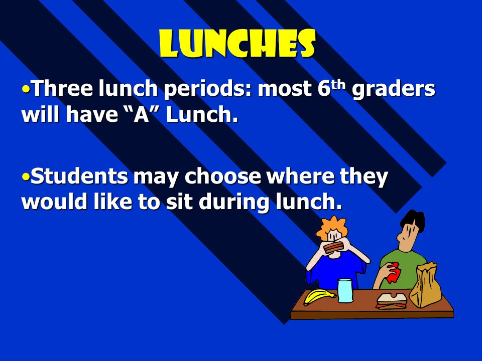 """Lunches Three lunch periods: most 6 th graders will have """"A"""" Lunch.Three lunch periods: most 6 th graders will have """"A"""" Lunch. Students may choose whe"""