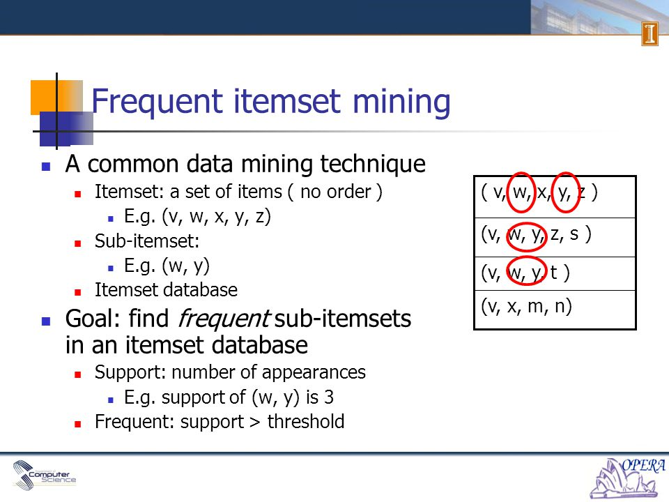 Frequent itemset mining A common data mining technique Itemset: a set of items ( no order ) E.g.